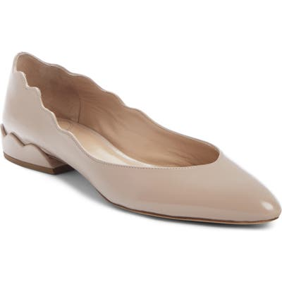 Chloe Laurena Scalloped Flat, Beige