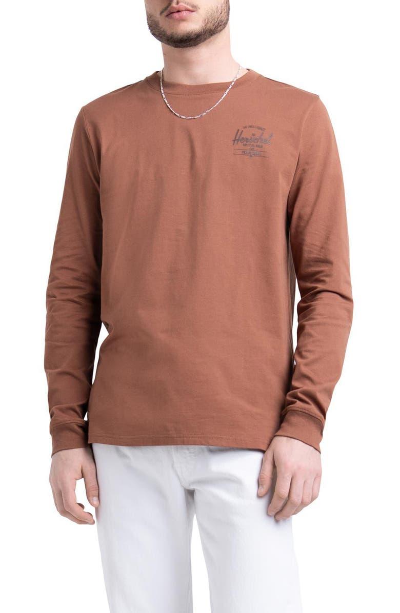HERSCHEL SUPPLY CO. Long Sleeve Logo T-Shirt, Main, color, SLV PRINT SADDLE BRN/DK BRN