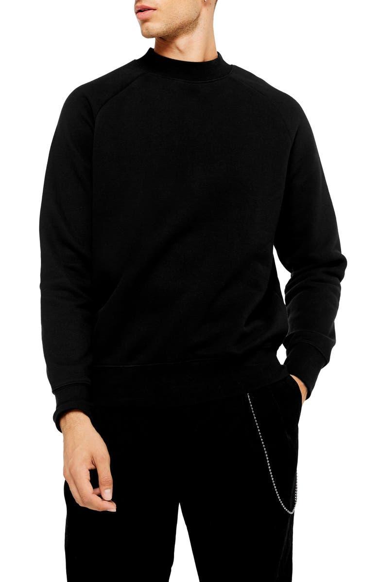TOPMAN Classic Crew Sweatshirt, Main, color, 001