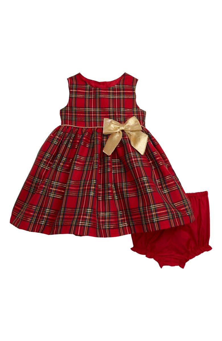 FRAIS Metallic Tartan Party Dress, Main, color, 600