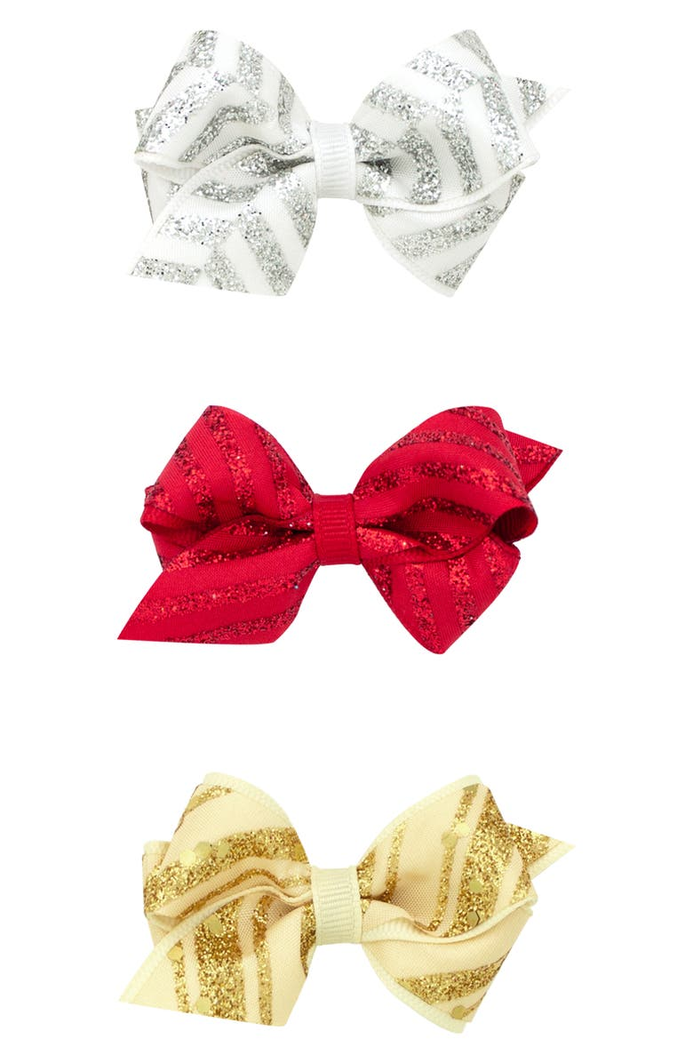 PLH BOWS 3-Pack Glitter Bow Hair Clips, Main, color, 710