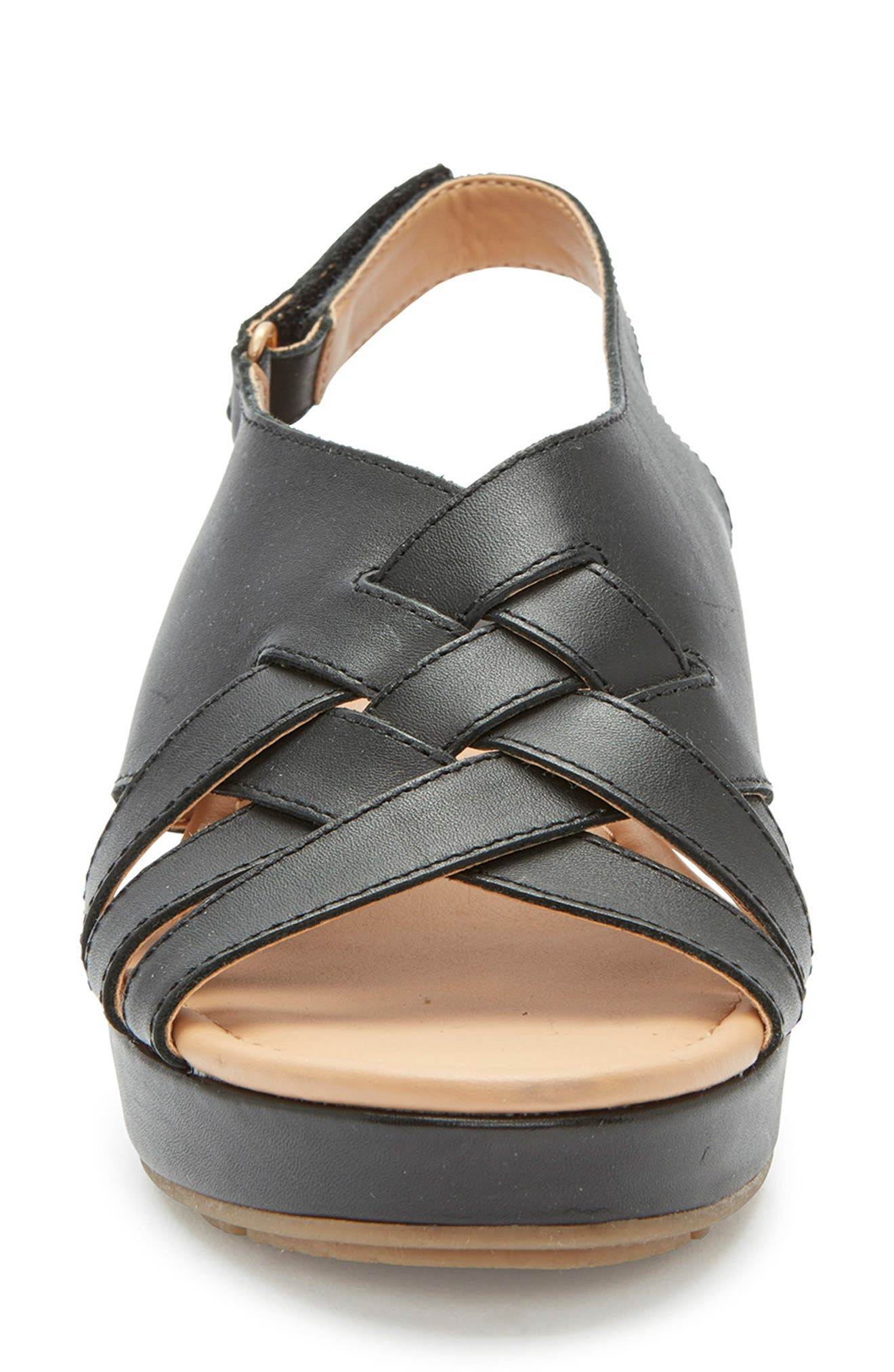 ,                             Alexi Wedge Sandal,                             Alternate thumbnail 4, color,                             BLACK LEATHER