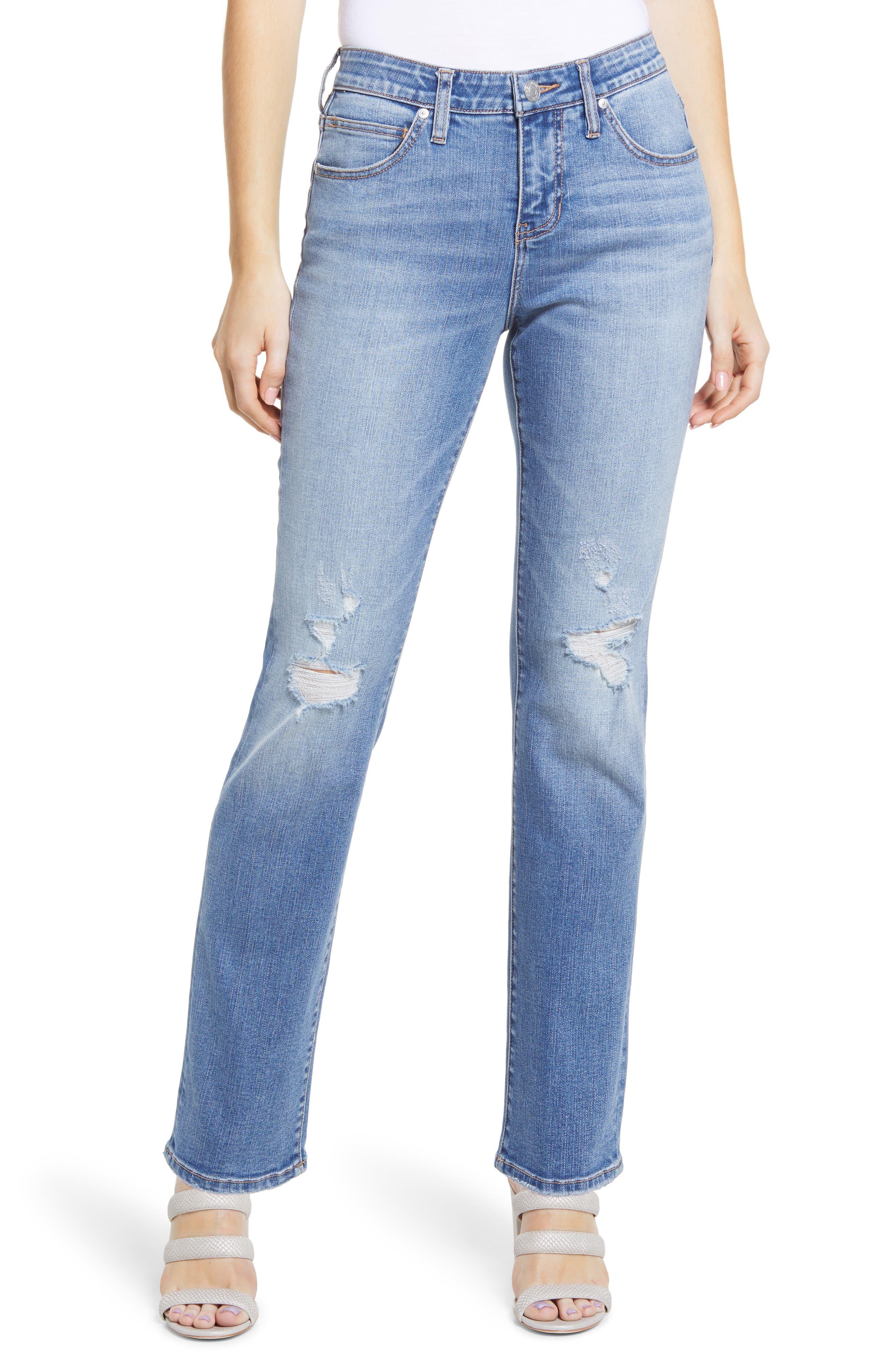 Ruby Distressed High Waist Straight Leg Jeans