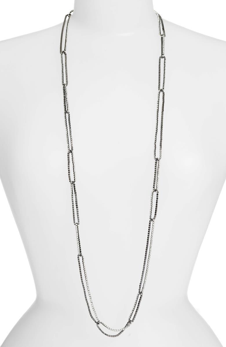 LISA FREEDE Long Crystal Chain Link Necklace, Main, color, GUNMETAL