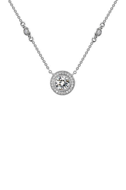 Image of LaFonn Platinum Bonded Sterling Silver Bezel Station Round Simulated Diamond Pendant Necklace