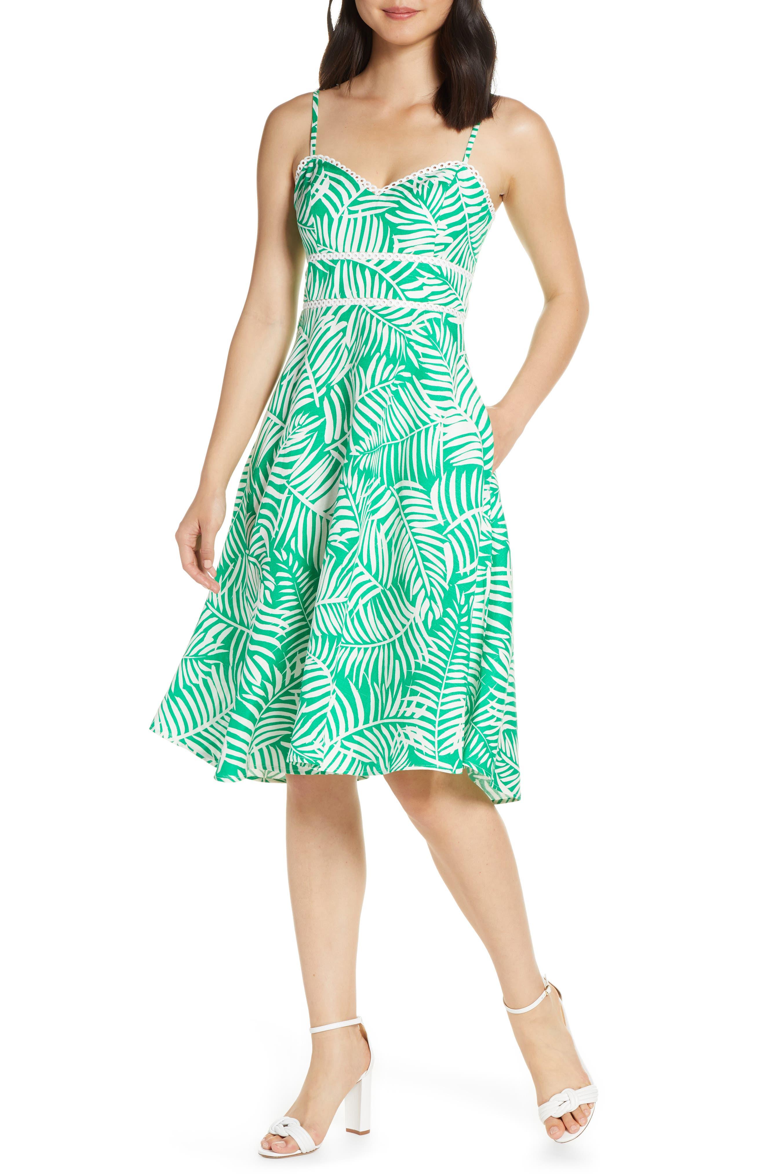 Eliza J Print Fit & Flare Dress, Green