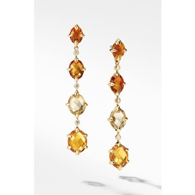 David Yurman Chatelaine 18K Gold Drop Earrings With Diamonds