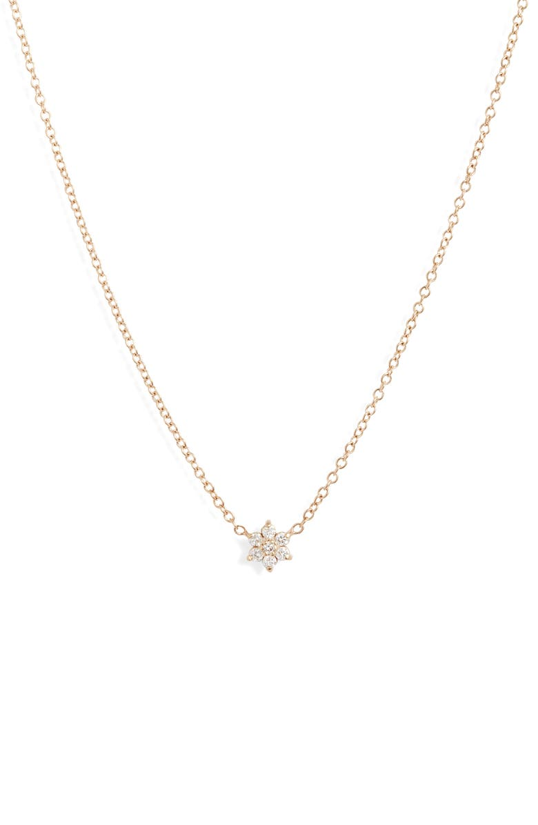 ZOË CHICCO Diamond Flower Necklace, Main, color, YELLOW GOLD/ DIAMOND