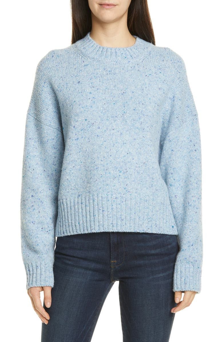VINCE Boxy High Neck Nep Merino Wool Blend Sweater, Main, color, NORDIC