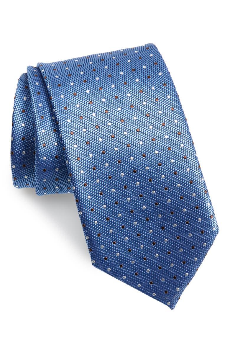 CANALI Dot Silk Tie, Main, color, BLUE