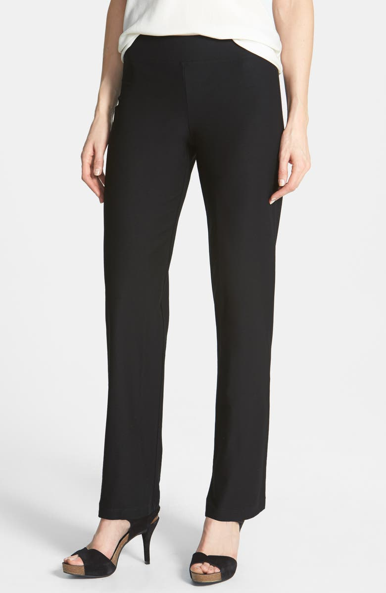 EILEEN FISHER Straight Leg Crepe Pants, Main, color, BLACK
