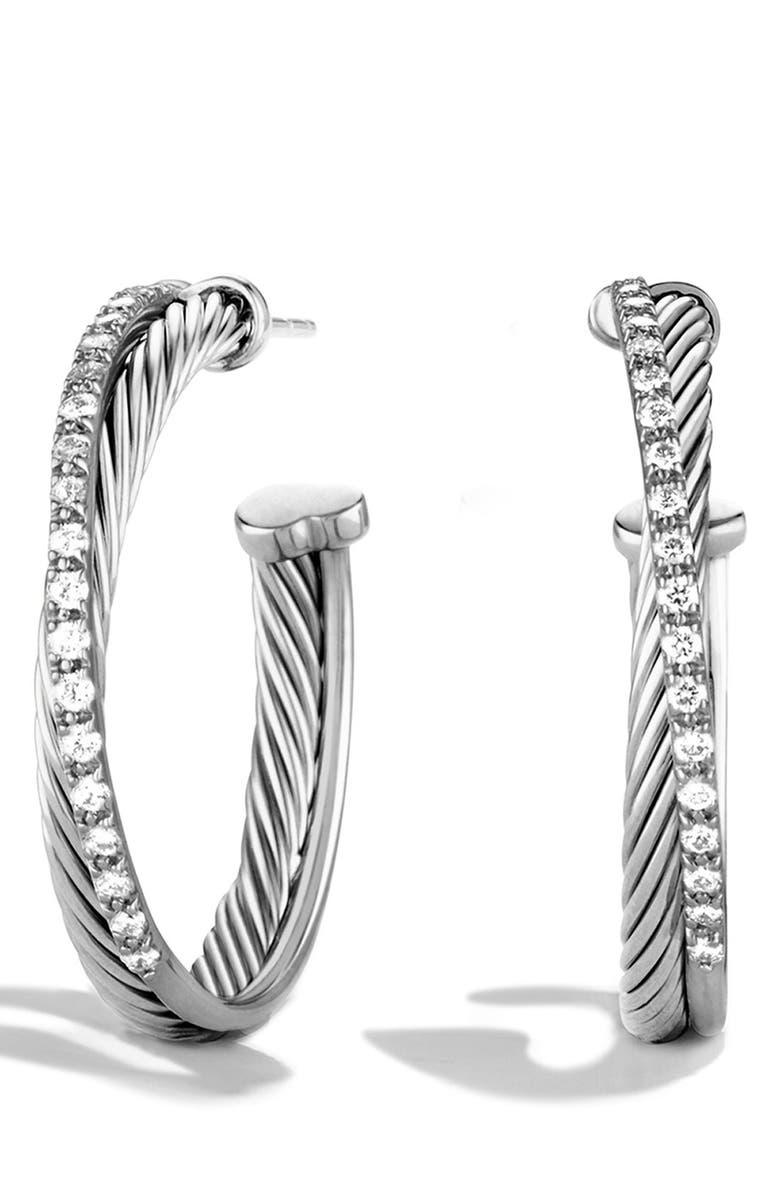 DAVID YURMAN 'Crossover' Hoop Earrings with Diamonds, Main, color, DIAMOND