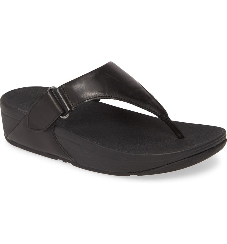 FITFLOP Sarna Flip Flop, Main, color, ALL BLACK LEATHER