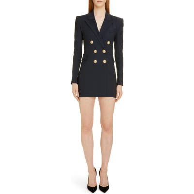 Balmain Double Breasted Wool Blend Blazer Dress, US / 44 FR - Blue