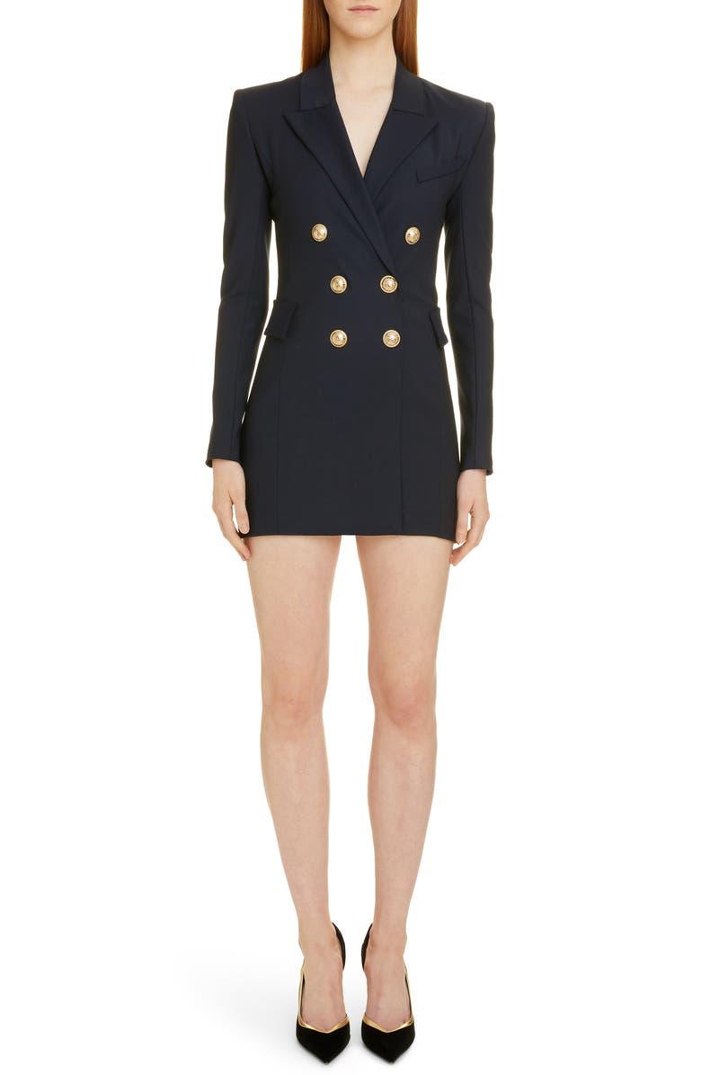 BALMAIN Double Breasted Wool Blend Blazer Dress, Main, color, 400