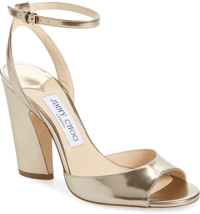 JIMMY CHOO Miranda Ankle Strap Sandal, Main, color, GOLD