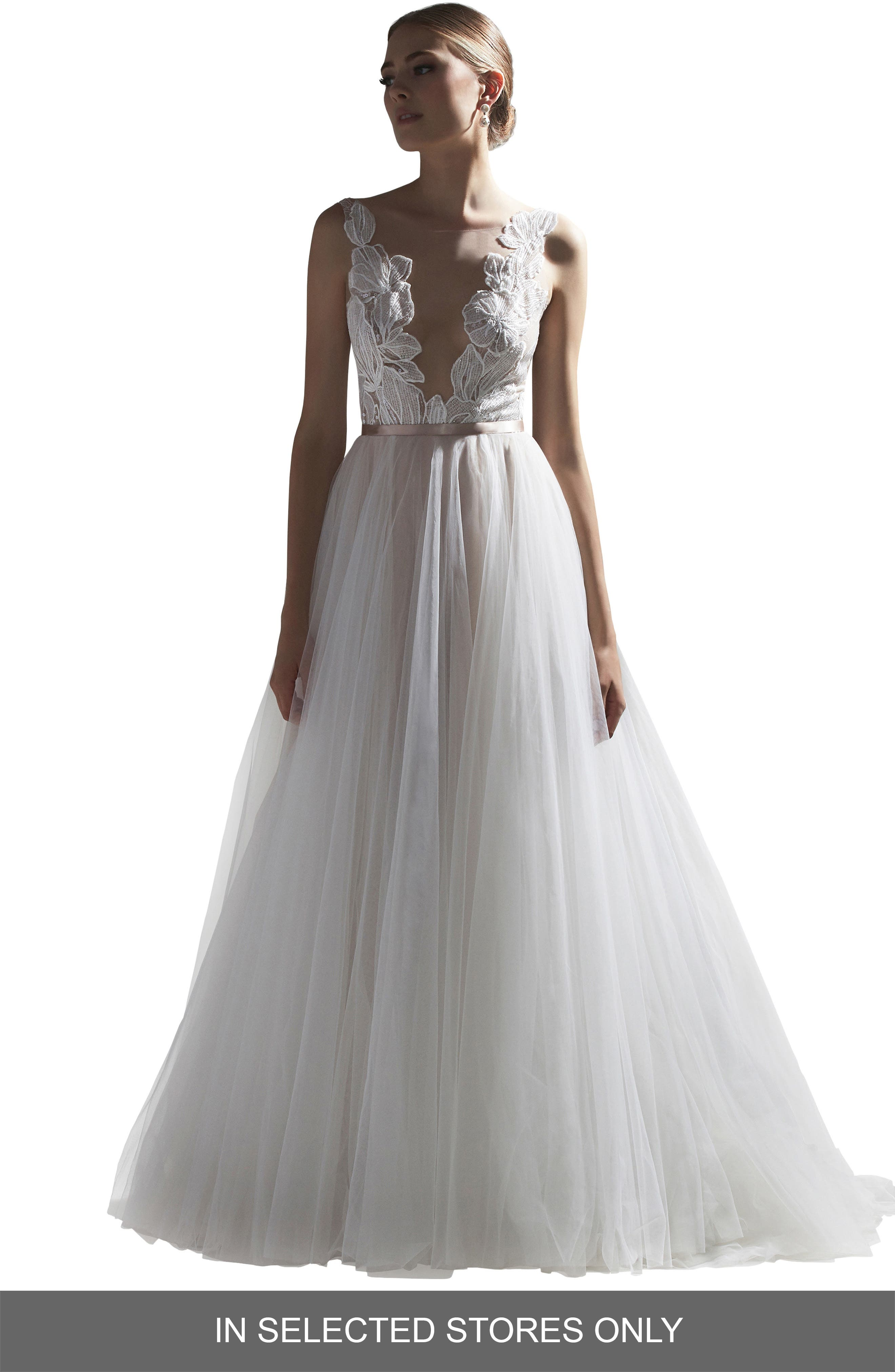 Watters Vervain V-Neck Lace & Tulle Ballgown Wedding Dress, Size IN STORE ONLY - Ivory