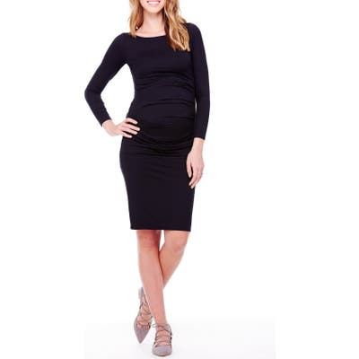 Ingrid & Isabel Shirred Maternity Dress, Black