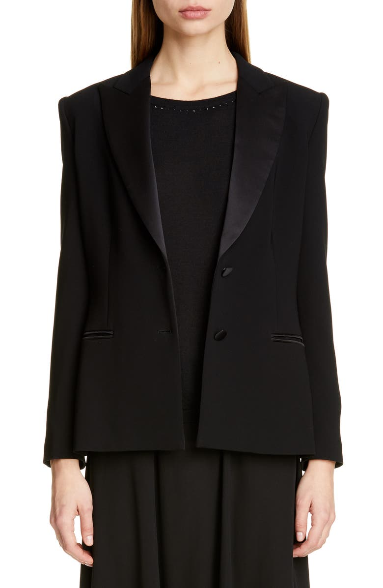 MAX MARA Eliadi Satin Trim Jacket, Main, color, BLACK