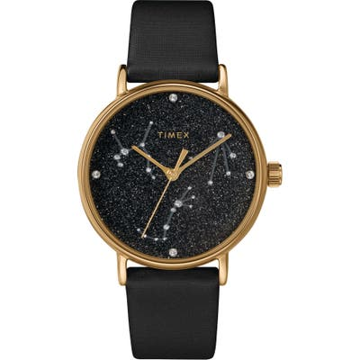 Timex Celestial Opulence Leather Strap Watch, 37Mm