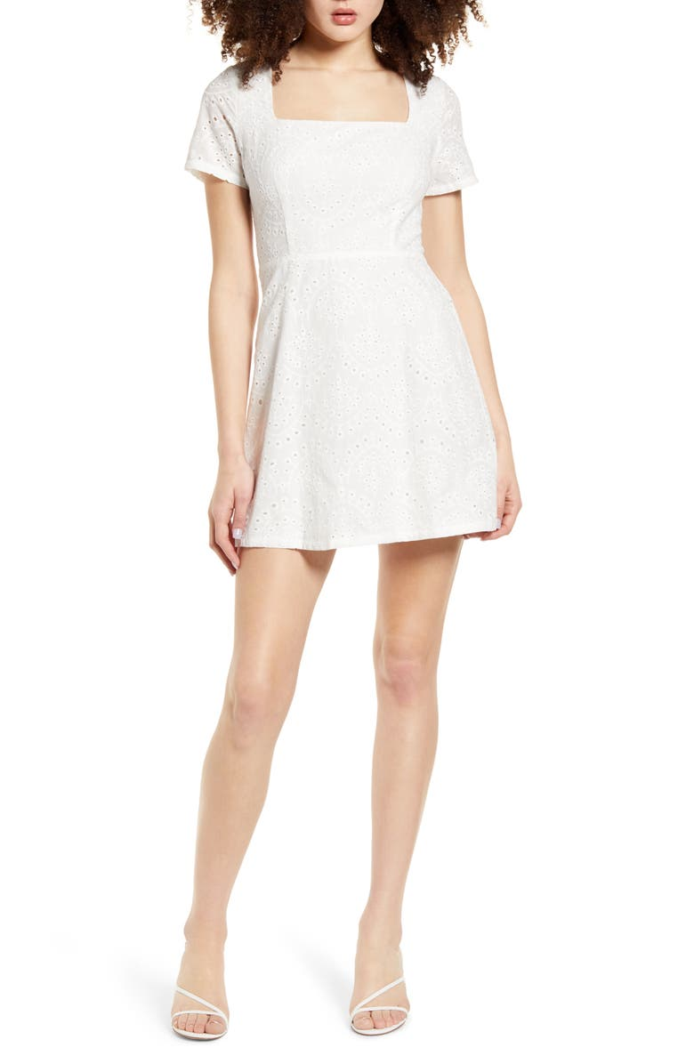 ALL IN FAVOR Eyelet Minidress, Main, color, 100