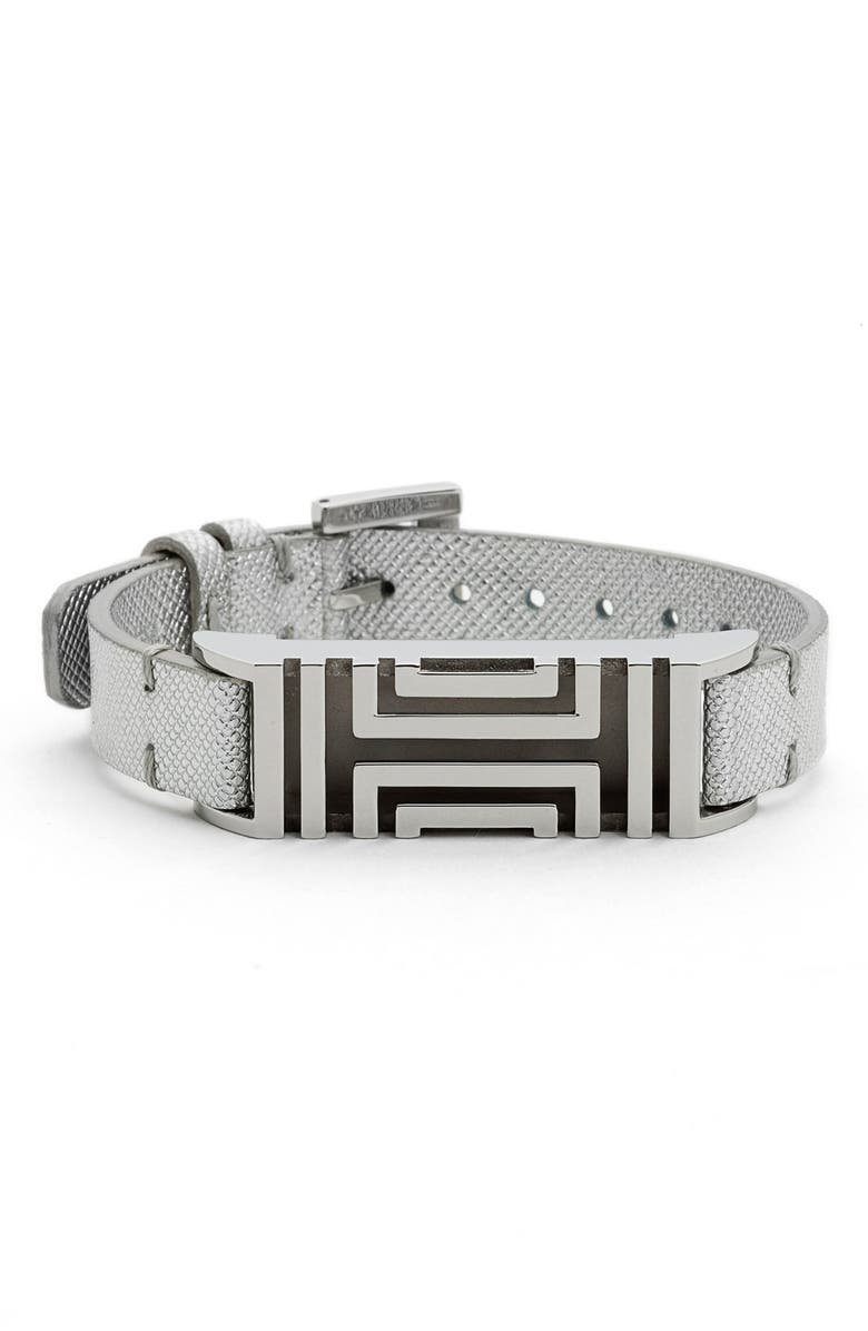 TORY BURCH for Fitbit<sup>®</sup> Metallic Leather Bracelet, Main, color, 040