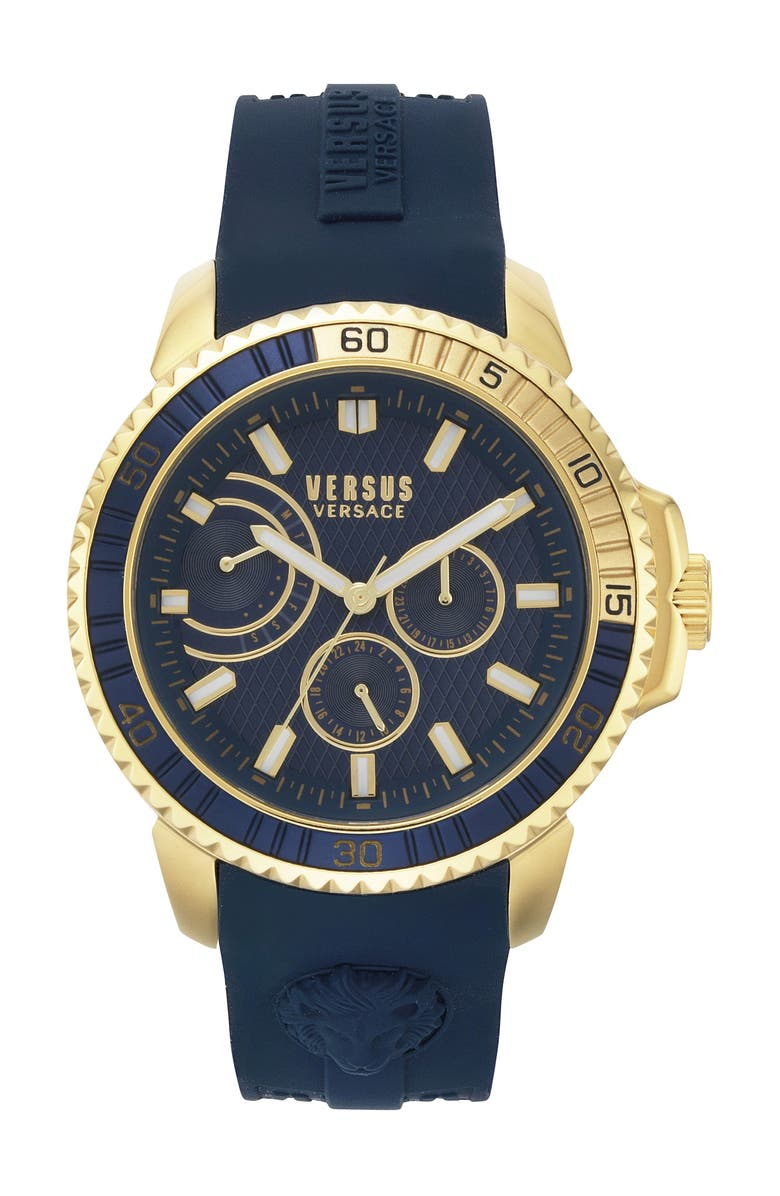 VERSUS VERSACE Aberdeen Silicone Strap Watch, 45mm, Main, color, BLUE/ GOLD
