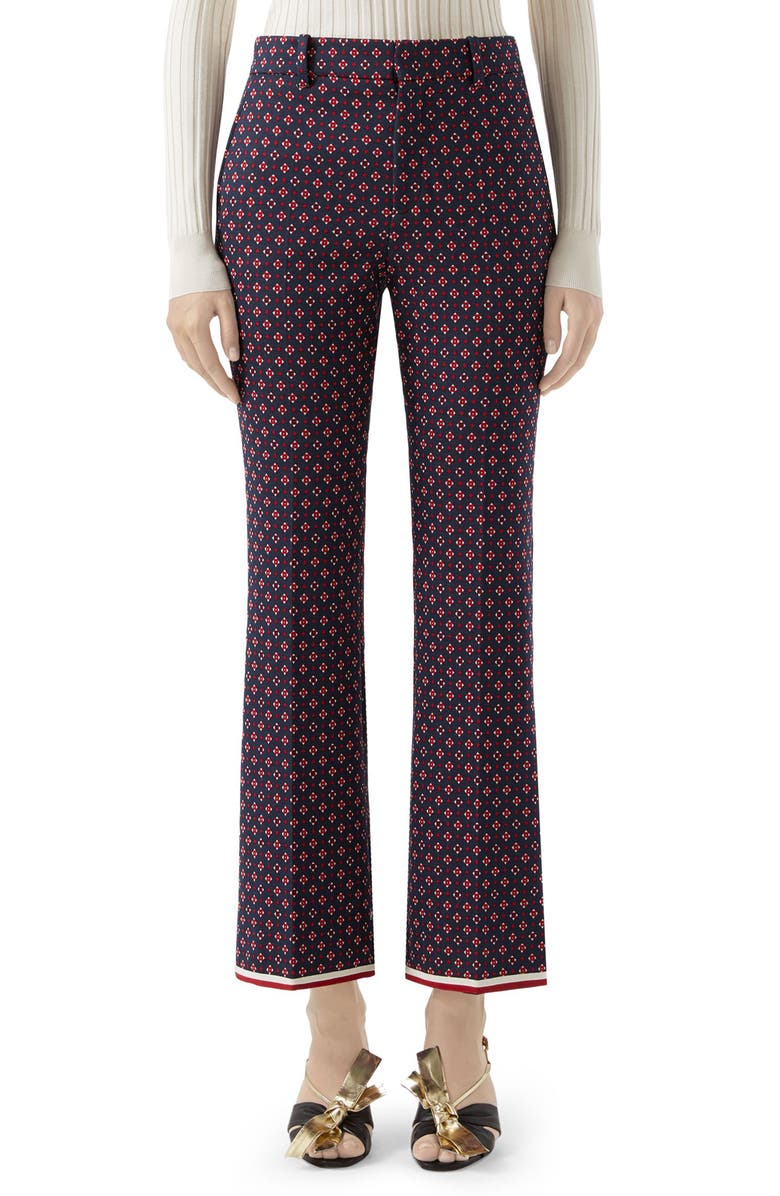 GUCCI Geometric Logo Jacquard Ankle Bootcut Pants, Main, color, BLUE/ RED