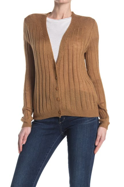 Image of Cotton Emporium Ribbed Button Front Cardigan