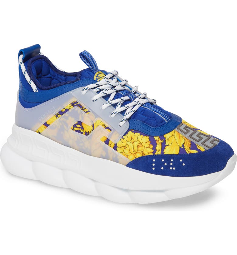 VERSACE Chain Reaction Sneaker, Main, color, BLUE/ GOLD/ WHITE