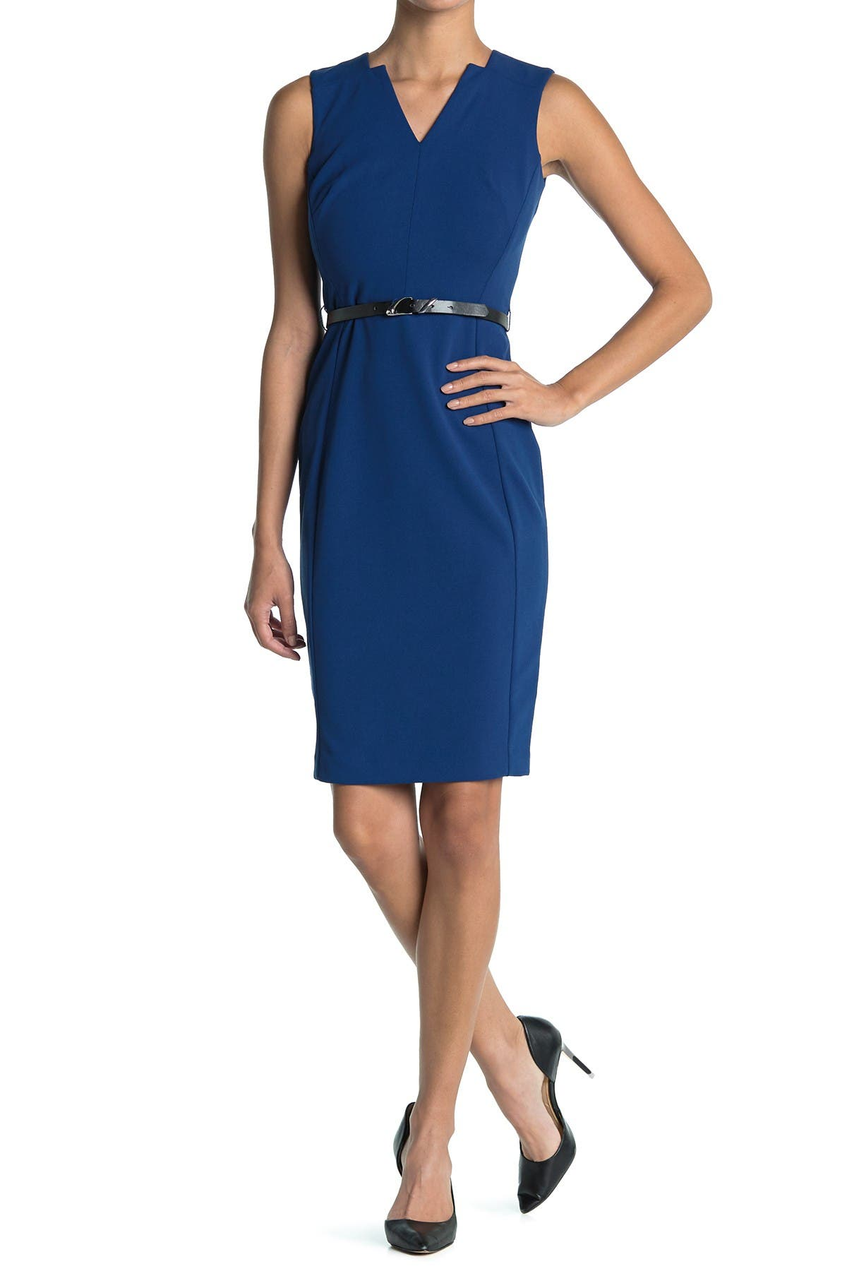 Image of Calvin Klein Sleeveless Belted Sheath Dress