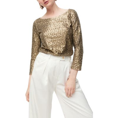 J.crew Allover Sequin Long Sleeve Tee, Beige