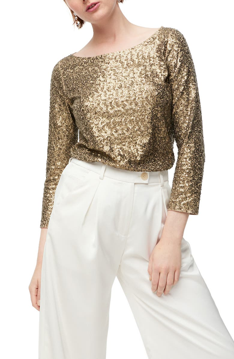 J.CREW Allover Sequin Long Sleeve Tee, Main, color, KHAKI