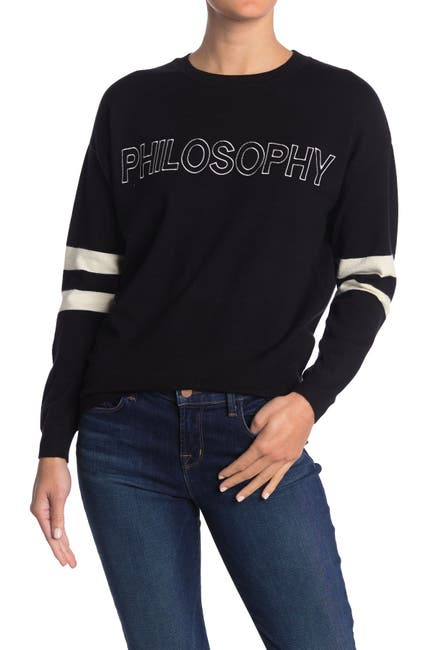 Image of Philosophy Apparel Logo Stripe Trim Knit Pullover