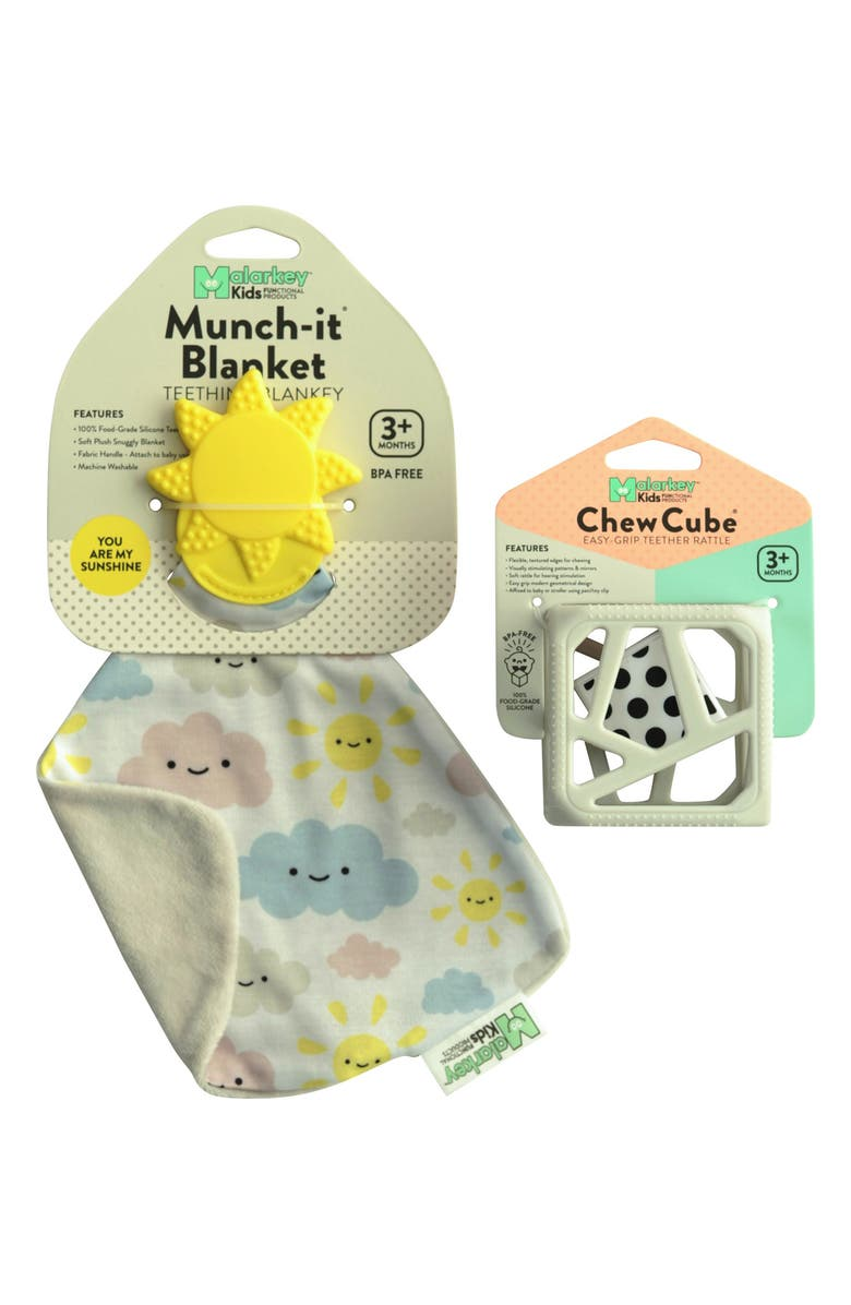 Munch Mitt You Are My Sunshine Munch It Blanket Chew Cube Teething Toy Set