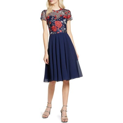 Chi Chi London Meryn Embroidered Chiffon Cocktail Dress, Blue