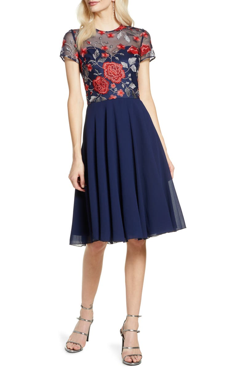 CHI CHI LONDON Meryn Embroidered Chiffon Cocktail Dress, Main, color, NAVY