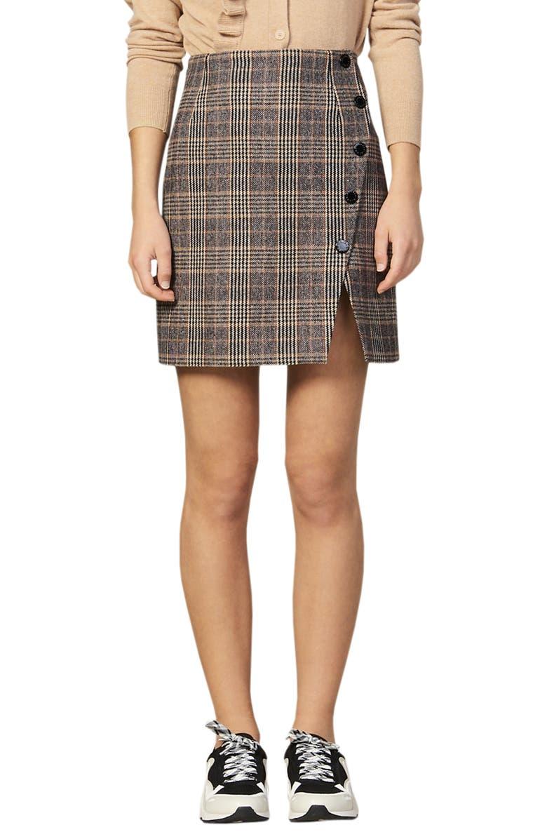 SANDRO Nona Plaid Side Snap Wool & Cotton Blend Miniskirt, Main, color, CAMEL