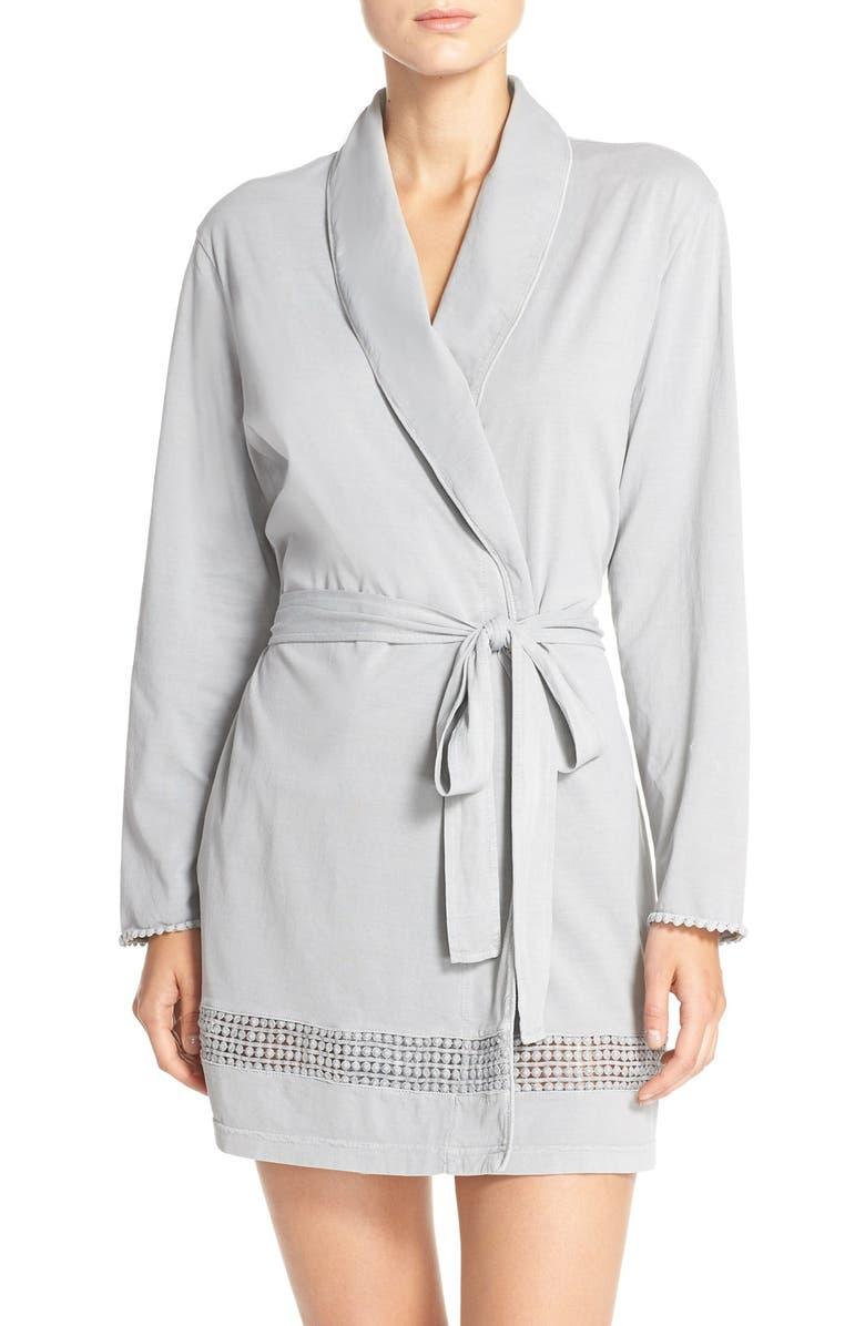 DANIEL BUCHLER Lace Trim Cotton Robe, Main, color, 020