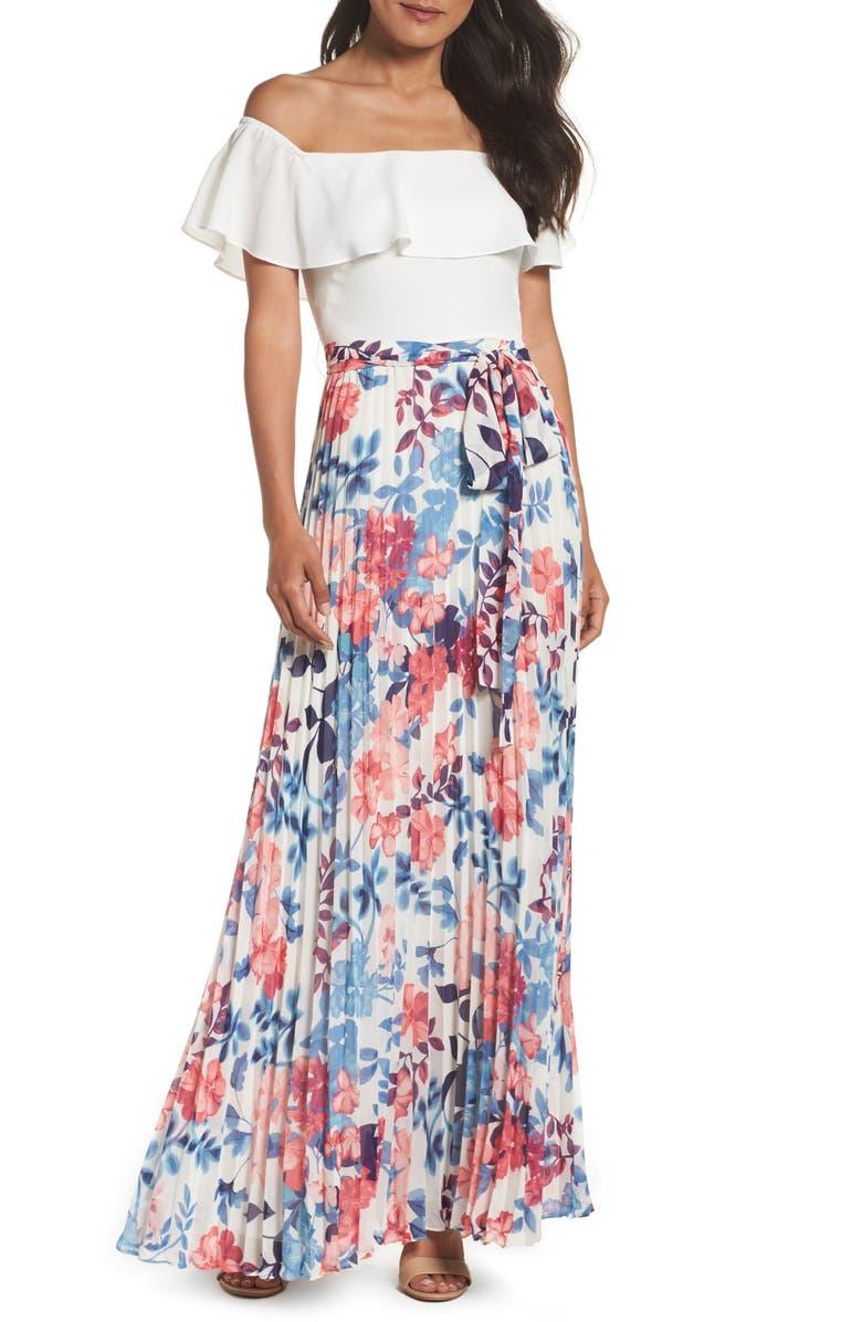 ELIZA J Off the Shoulder Floral Maxi Dress, Main, color, IVORY/ PINK