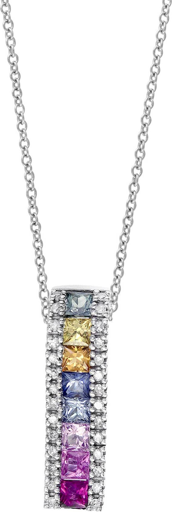 Details about  /14K White Gold 0.02 ct Diamond and Sapphire Pendant Necklace