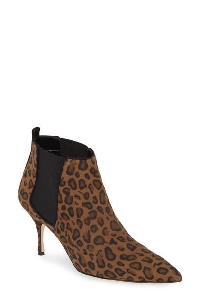 fba49c0bc030b Manolo Blahnik Dildi Leopard Print Chelsea Bootie | ModeSens