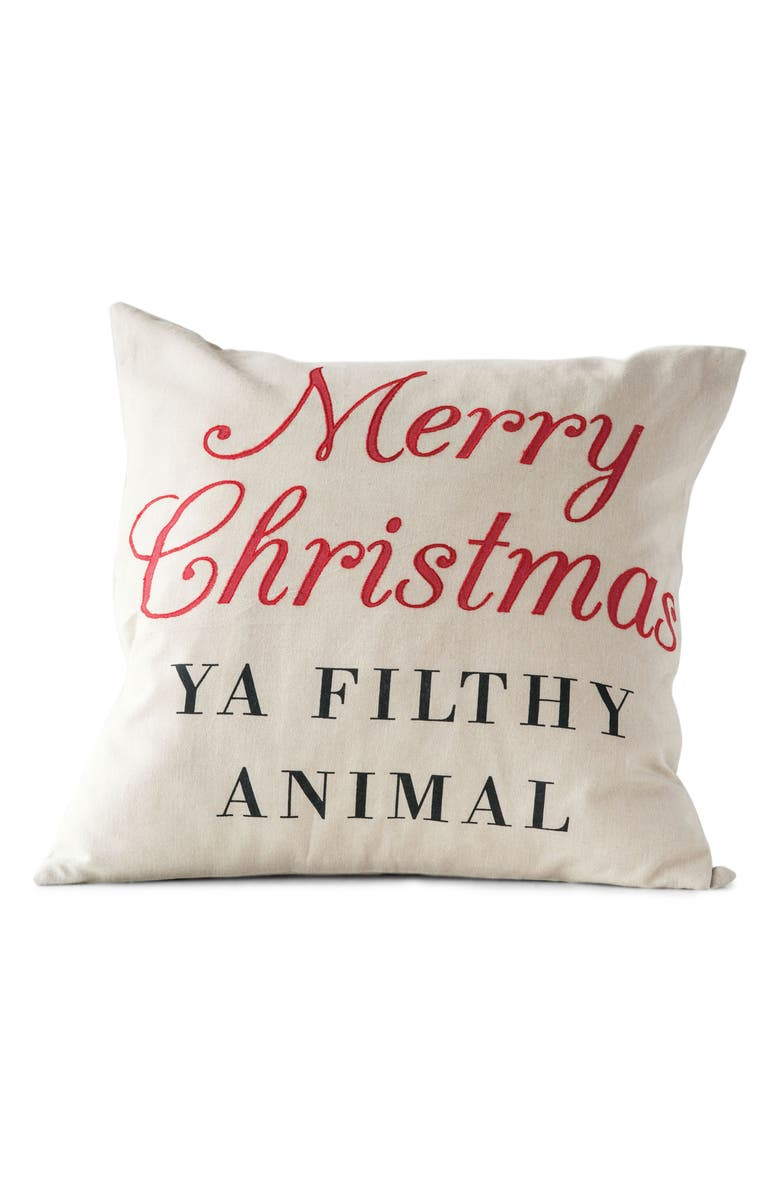 CREATIVE CO-OP Merry Christmas Accent Pillow, Main, color, WHITE