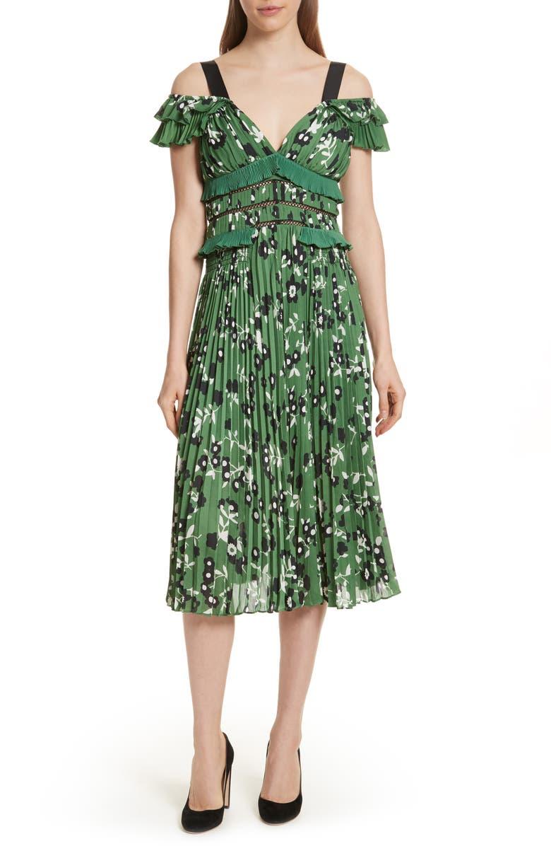 SELF-PORTRAIT Floral Print Cold Shoulder Dress, Main, color, 300