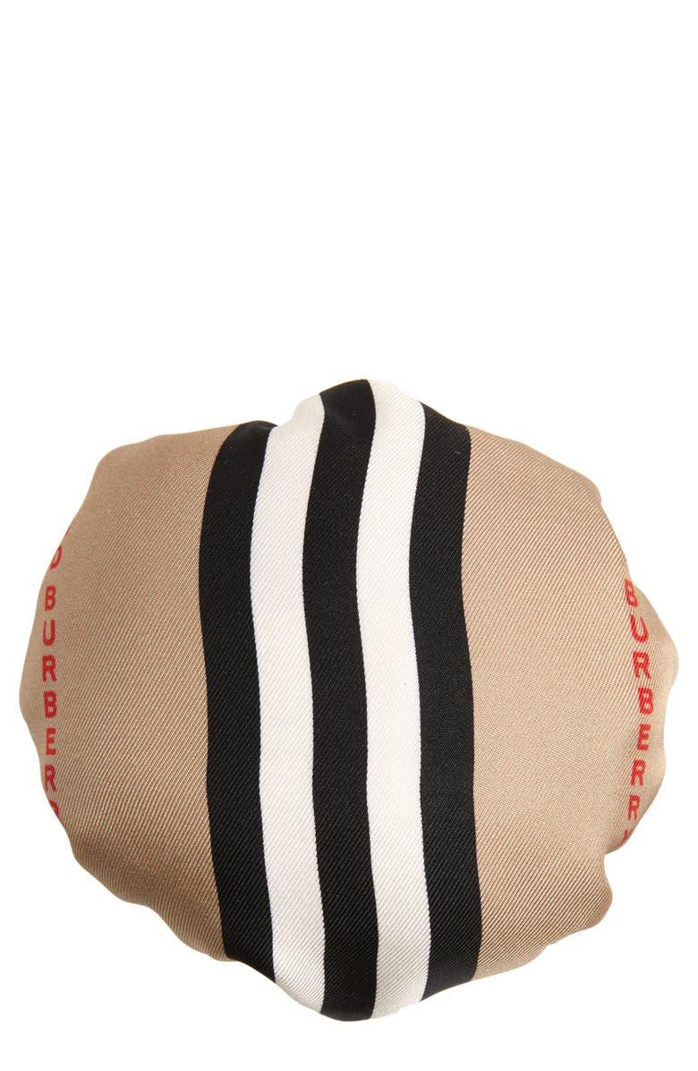 BURBERRY Icon Stripe Silk Chignon Cover, Main, color, BEIGE