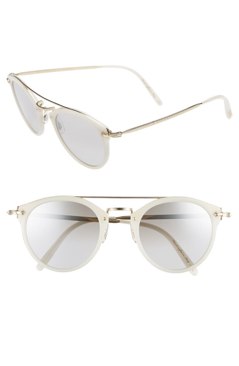OLIVER PEOPLES Remick 50mm Brow Bar Sunglasses, Main, color, 100
