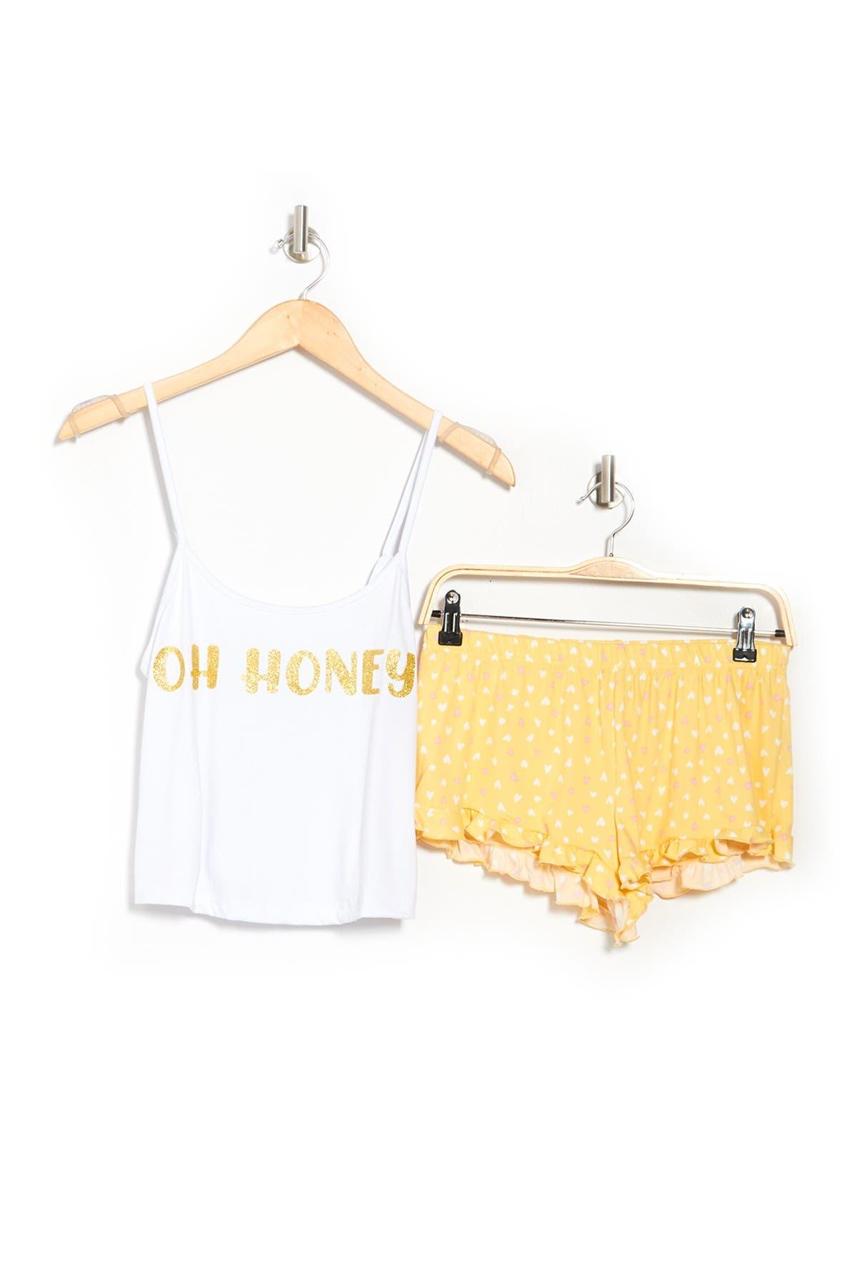 Image of FRENCH AFFAIR Oh Honey Camisole & Shorts Pajama 2-Piece Set