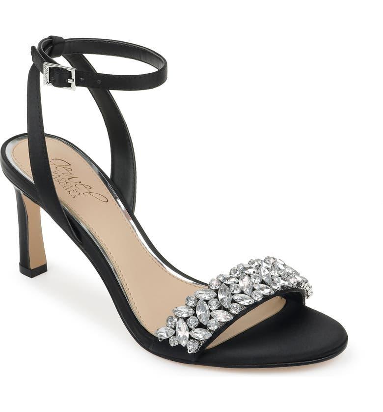 JEWEL BADGLEY MISCHKA Baltimore Ankle Strap Sandal, Main, color, BLACK SATIN