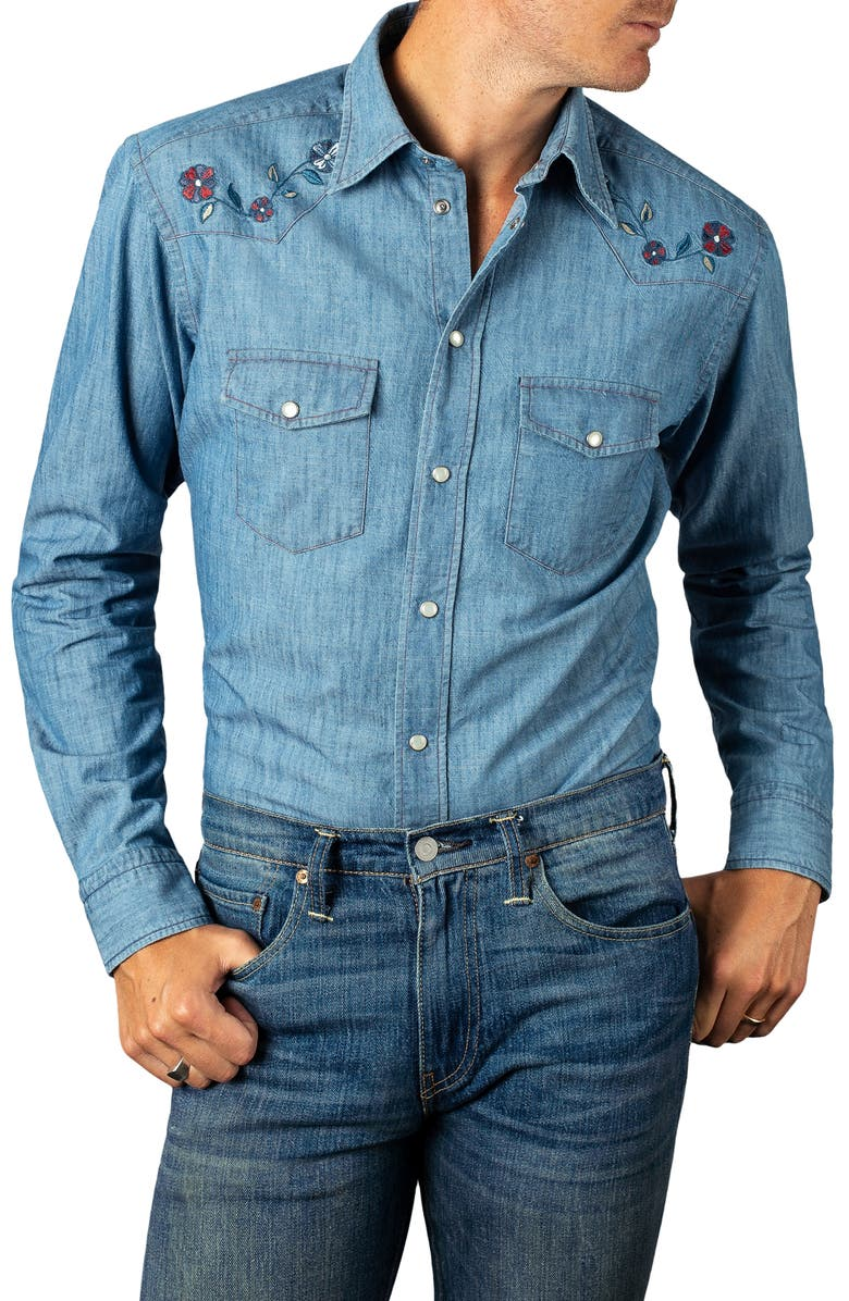 b0e8fc63 Slim Fit Embroidered Denim Shirt, Main, color, 400