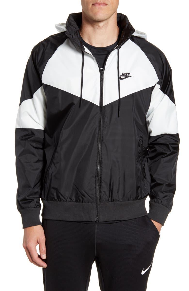 NIKE Windrunner Jacket, Main, color, BLACK/ WHITE/ BLACK/ BLACK